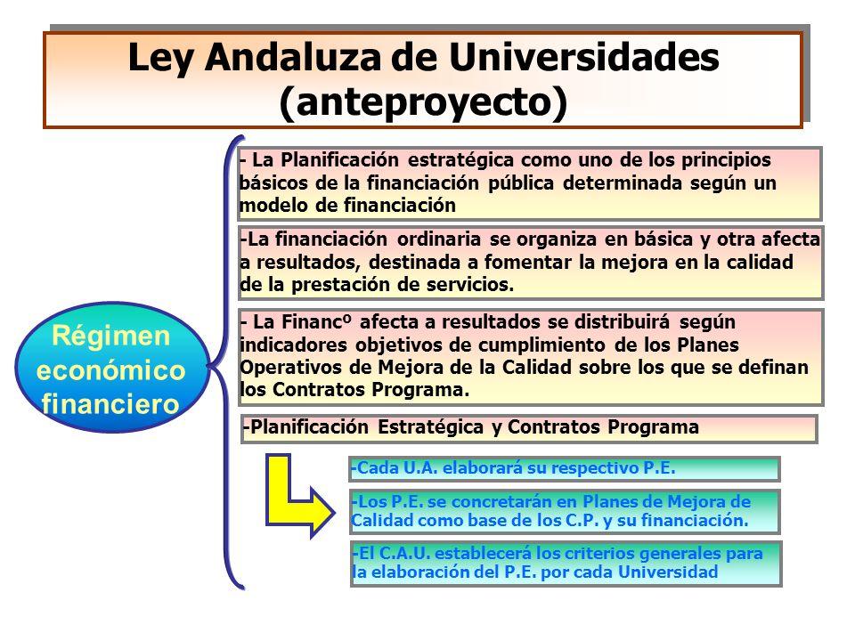 Ley Andaluza de Universidades (anteproyecto) -La financiación ordinaria se organiza en básica y otra afecta a resultados, destinada a fomentar la mejo