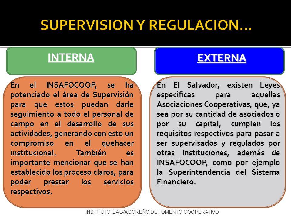 INSTITUTO SALVADOREÑO DE FOMENTO COOPERATIVO SUPERVISION Y REGULACION… En el INSAFOCOOP, se ha potenciado el área de Supervisión para que estos puedan