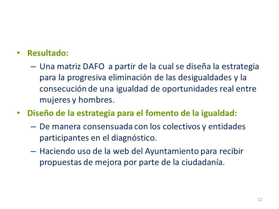 Resultado: – Una matriz DAFO a partir de la cual se diseña la estrategia para la progresiva eliminación de las desigualdades y la consecución de una i