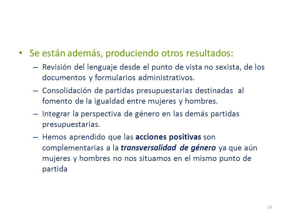 Se están además, produciendo otros resultados: – Revisión del lenguaje desde el punto de vista no sexista, de los documentos y formularios administrat