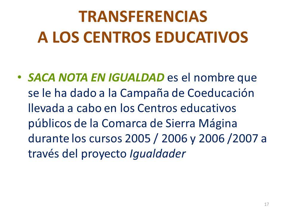 TRANSFERENCIAS A LOS CENTROS EDUCATIVOS SACA NOTA EN IGUALDAD es el nombre que se le ha dado a la Campaña de Coeducación llevada a cabo en los Centros