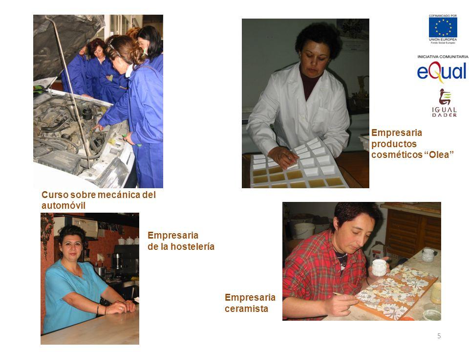 Curso sobre mecánica del automóvil Empresaria productos cosméticos Olea Empresaria ceramista Empresaria de la hostelería 5