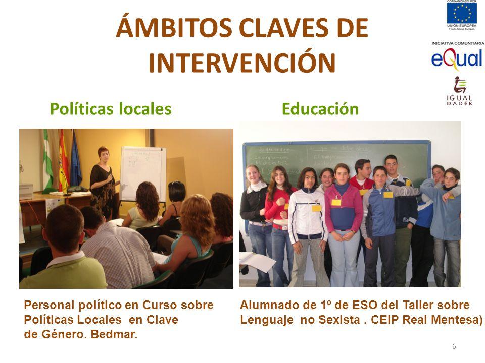 ÁMBITOS CLAVES DE INTERVENCIÓN Educación Políticas locales Personal político en Curso sobre Políticas Locales en Clave de Género. Bedmar. Alumnado de