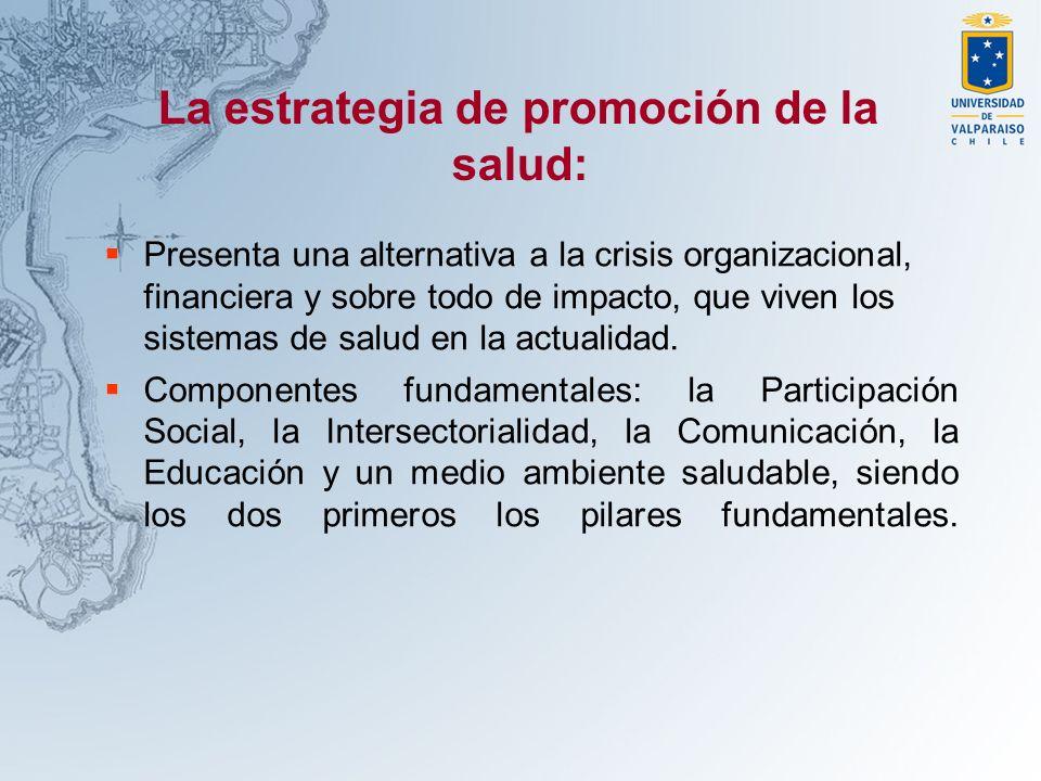 La estrategia de promoción de la salud: Presenta una alternativa a la crisis organizacional, financiera y sobre todo de impacto, que viven los sistema