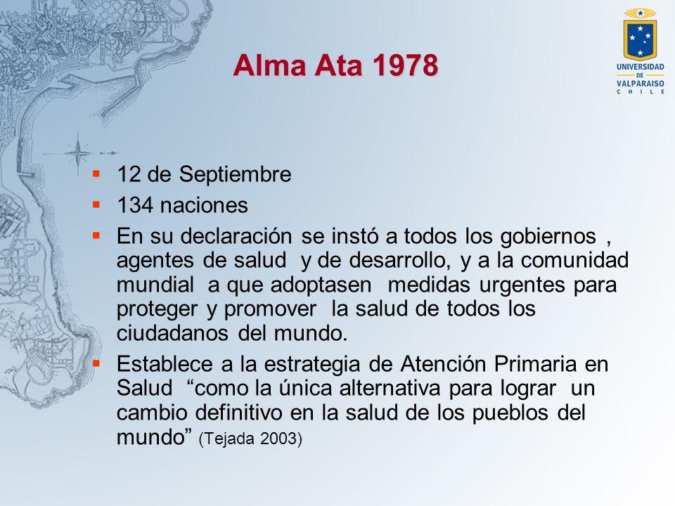 Alma Ata 1978 12 de Septiembre 134 naciones En su declaración se instó a todos los gobiernos, agentes de salud y de desarrollo, y a la comunidad mundi