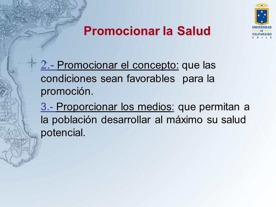 2.- Promocionar el concepto: que las condiciones sean favorables para la promoción. 3.- Proporcionar los medios: que permitan a la población desarroll