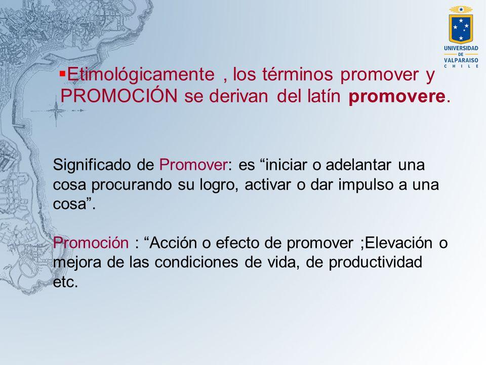 Etimológicamente, los términos promover y PROMOCIÓN se derivan del latín promovere. Significado de Promover: es iniciar o adelantar una cosa procurand