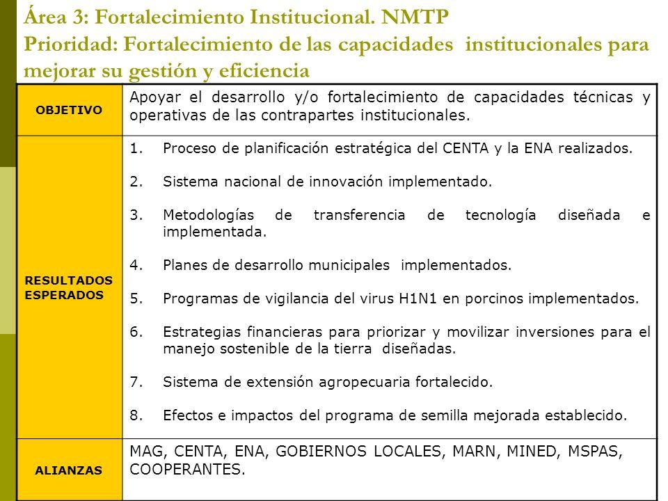 Área 3: Fortalecimiento Institucional. NMTP Prioridad: Fortalecimiento de las capacidades institucionales para mejorar su gestión y eficiencia OBJETIV