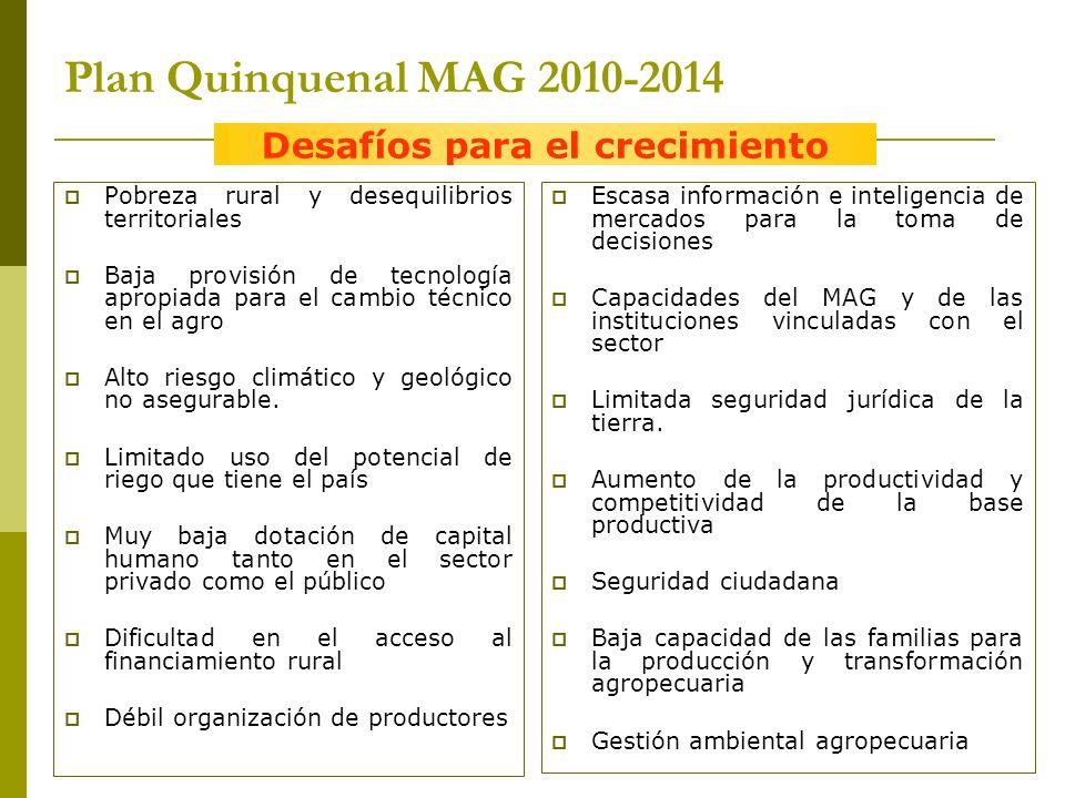 Plan Quinquenal MAG 2010-2014 Pobreza rural y desequilibrios territoriales Baja provisión de tecnología apropiada para el cambio técnico en el agro Alto riesgo climático y geológico no asegurable.