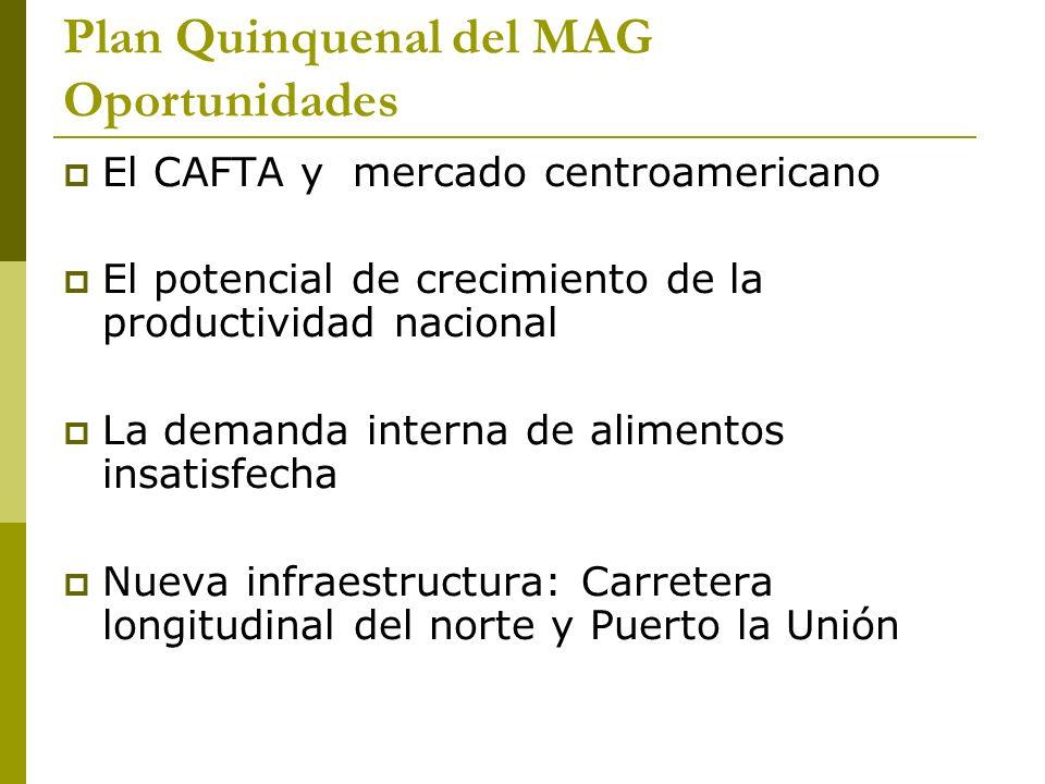 Plan Quinquenal del MAG Oportunidades El CAFTA y mercado centroamericano El potencial de crecimiento de la productividad nacional La demanda interna de alimentos insatisfecha Nueva infraestructura: Carretera longitudinal del norte y Puerto la Unión