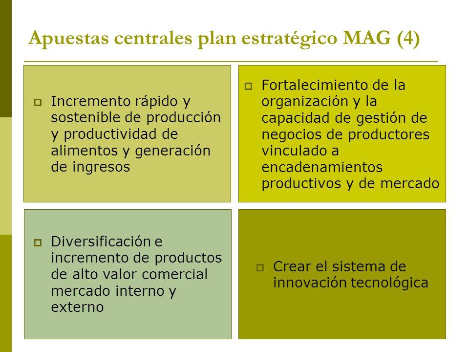 Apuestas centrales plan estratégico MAG (4) Incremento rápido y sostenible de producción y productividad de alimentos y generación de ingresos Fortalecimiento de la organización y la capacidad de gestión de negocios de productores vinculado a encadenamientos productivos y de mercado Diversificación e incremento de productos de alto valor comercial mercado interno y externo Crear el sistema de innovación tecnológica