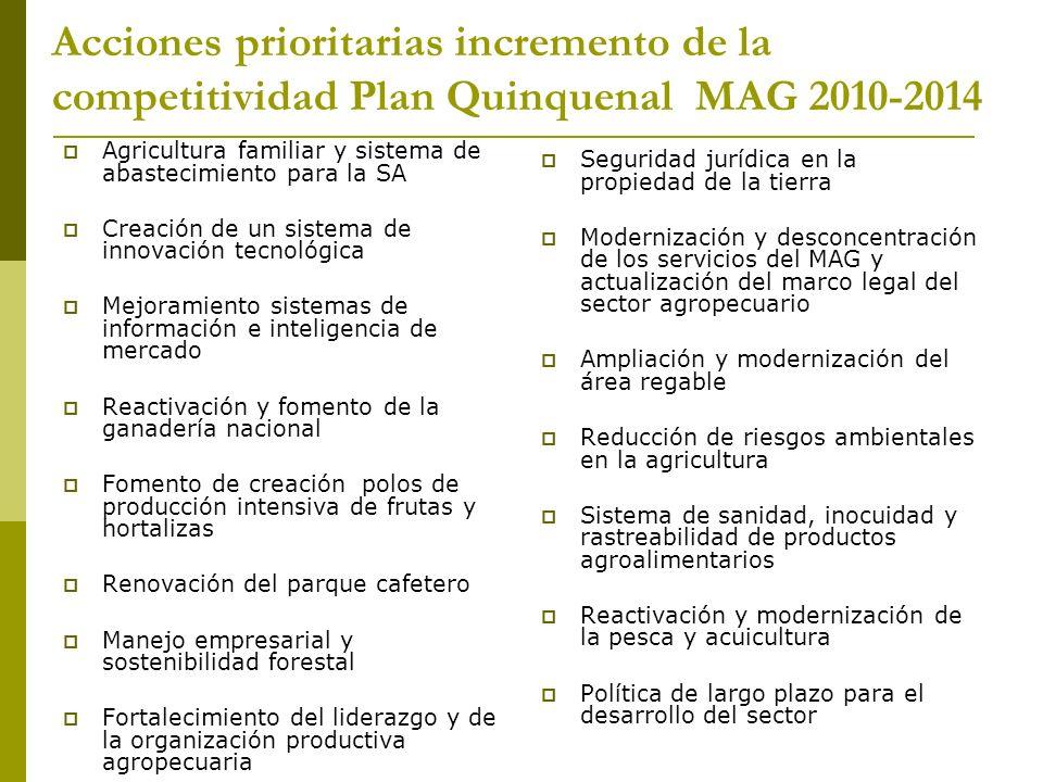 Acciones prioritarias incremento de la competitividad Plan Quinquenal MAG 2010-2014 Agricultura familiar y sistema de abastecimiento para la SA Creaci