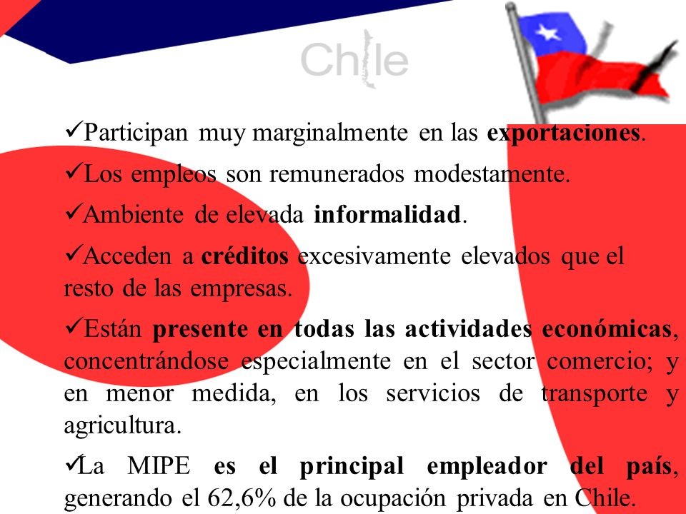1.2 Clasificación de las Empresas TAMAÑOVENTAS ANUALES UF Micro EmpresaHasta 2.400 UF Pequeña EmpresaDe 2.401 - 25.000 Mediana EmpresaDe 25.001 - 100.000 Grandes EmpresasMás de 100.001