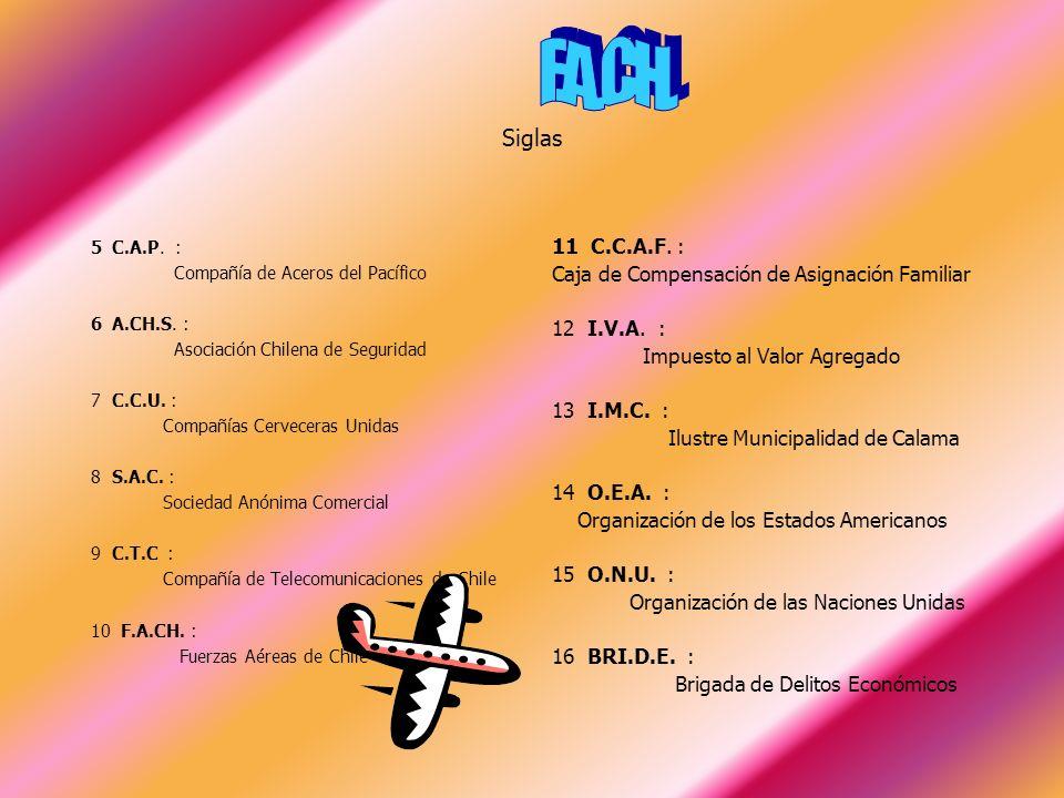 Siglas Sigla: Conjunto de letras iniciales que se emplea como abreviatura para formar un nombre.