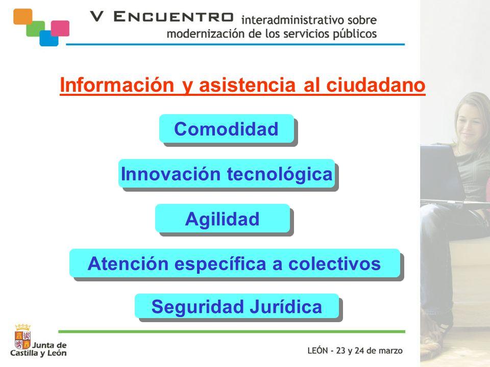 Información y asistencia al ciudadano Comodidad Innovación tecnológica Agilidad Atención específica a colectivos Seguridad Jurídica