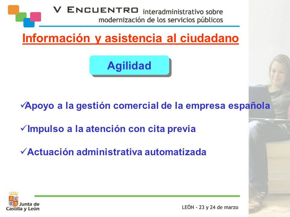 Información y asistencia al ciudadano Agilidad Apoyo a la gestión comercial de la empresa española Impulso a la atención con cita previa Actuación adm