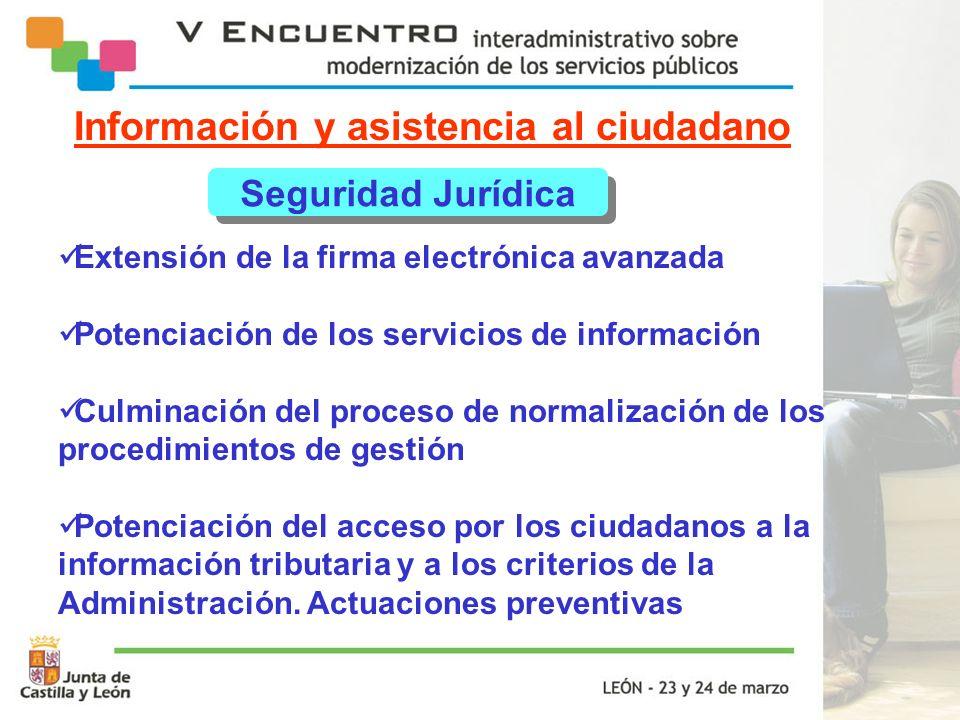 Información y asistencia al ciudadano Seguridad Jurídica Extensión de la firma electrónica avanzada Potenciación de los servicios de información Culmi