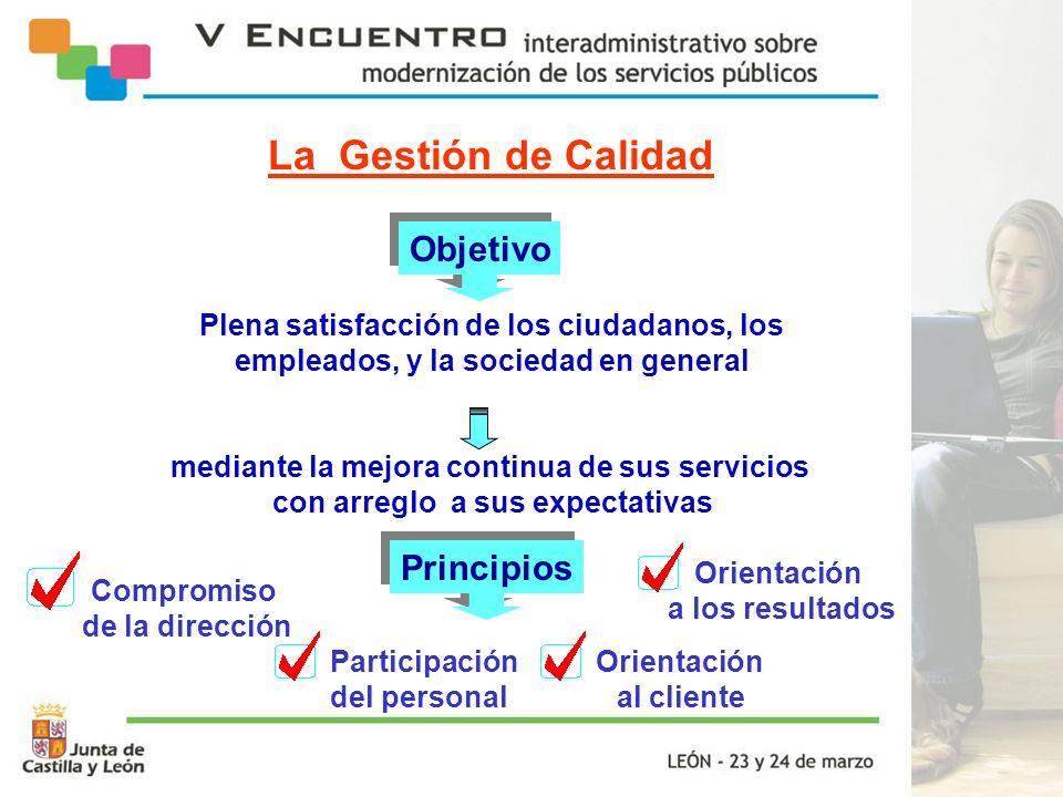 Objetivo Plena satisfacción de los ciudadanos, los empleados, y la sociedad en general mediante la mejora continua de sus servicios con arreglo a sus