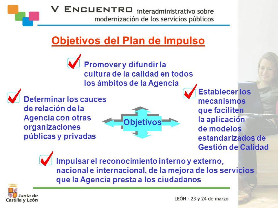 Establecer los mecanismos que faciliten la aplicación de modelos estandarizados de Gestión de Calidad Determinar los cauces de relación de la Agencia