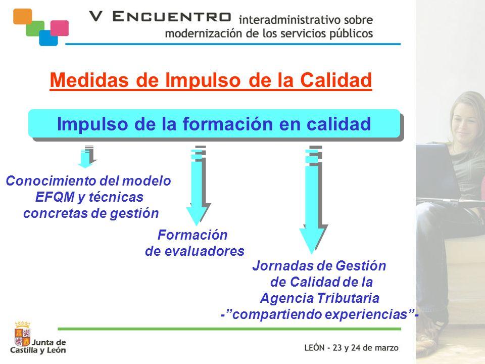 Impulso de la formación en calidad Conocimiento del modelo EFQM y técnicas concretas de gestión Jornadas de Gestión de Calidad de la Agencia Tributari