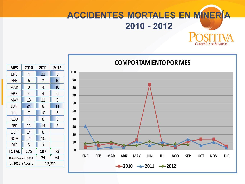 ACCIDENTES MORTALES EN MINERÍA 2010 - 2012