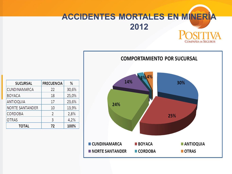 ACCIDENTES MORTALES EN MINERÍA 2012