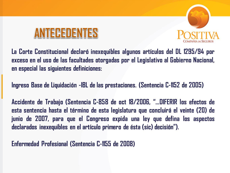 La Corte Constitucional declaró inexequibles algunos artículos del DL 1295/94 por exceso en el uso de las facultades otorgadas por el Legislativo al G