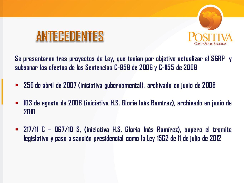 Decreto Ley 1295 de 1994Ley 1562 de 2012 Sistema General de Riesgos Profesionales, Artículo 1 Artículo 1° Modifica la denominación del Sistema General de Riesgos Profesionales por el de Sistema General de Riesgos Laborales, pero conserva la definición.