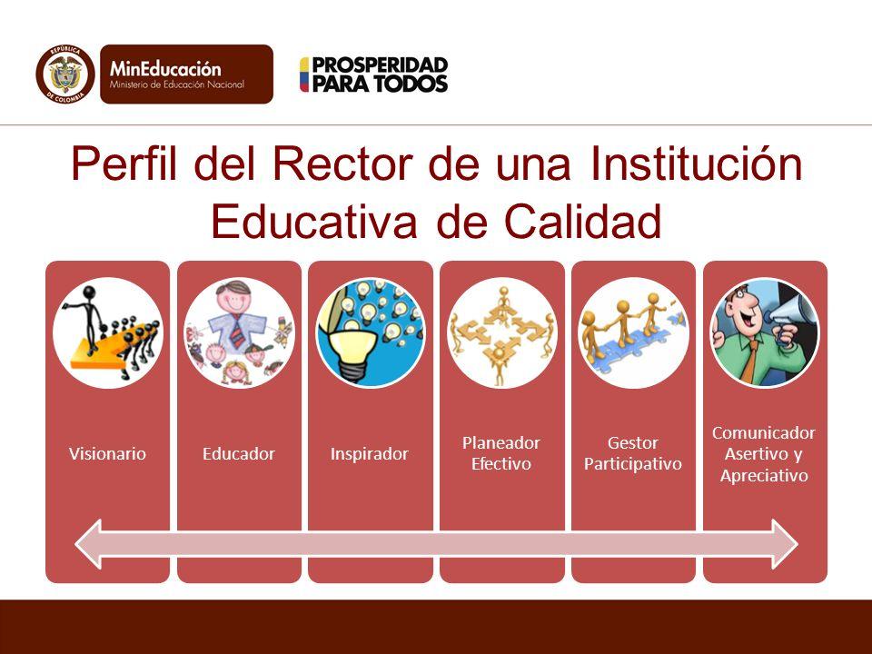 VisionarioEducadorInspirador Planeador Efectivo Gestor Participativo Comunicador Asertivo y Apreciativo Perfil del Rector de una Institución Educativa