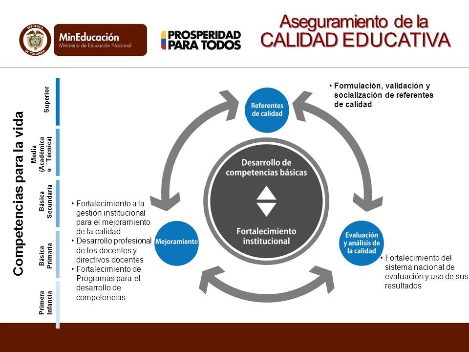 Formulación, validación y socialización de referentes de calidad Fortalecimiento del sistema nacional de evaluación y uso de sus resultados Fortalecim