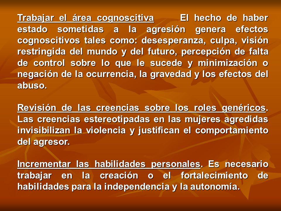 ESTRATEGIAS ESPECÍFICAS DE INTERVENCIÓN CON MUJERES AGREDIDAS (DUTTON, 1992) Promover el auto-cuidado.