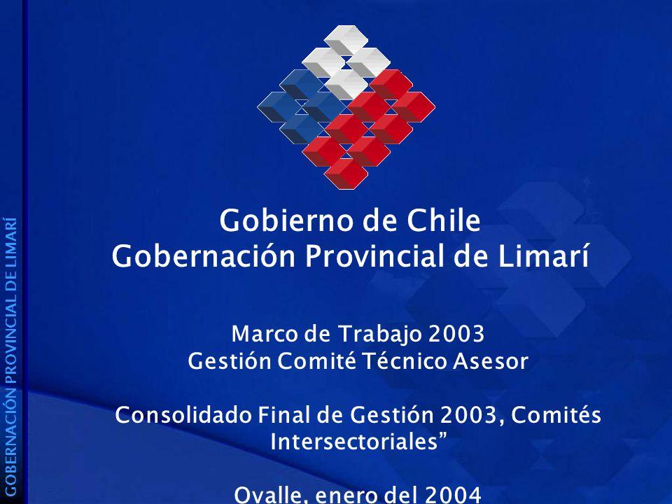 Gobierno de Chile Gobernación Provincial de Limarí GOBERNACIÓN PROVINCIAL DE LIMARÍ Marco de Trabajo 2003 Gestión Comité Técnico Asesor Consolidado Final de Gestión 2003, Comités Intersectoriales Ovalle, enero del 2004