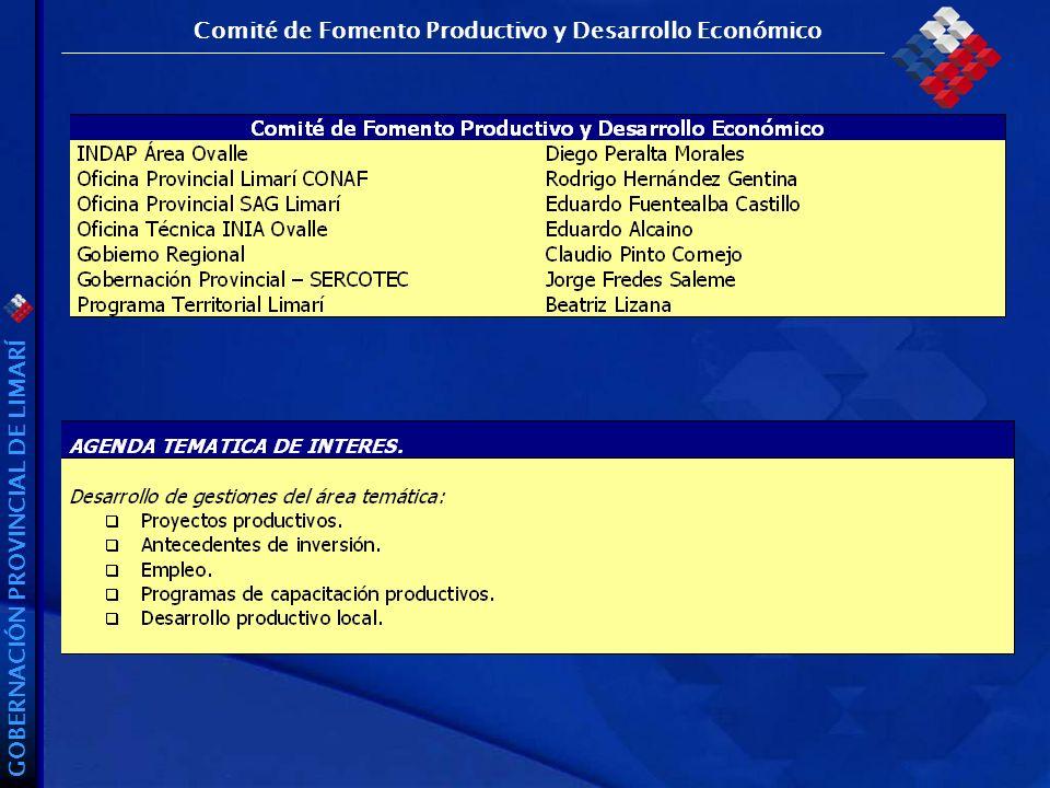 GOBERNACIÓN PROVINCIAL DE LIMARÍ Comité de Fomento Productivo y Desarrollo Económico