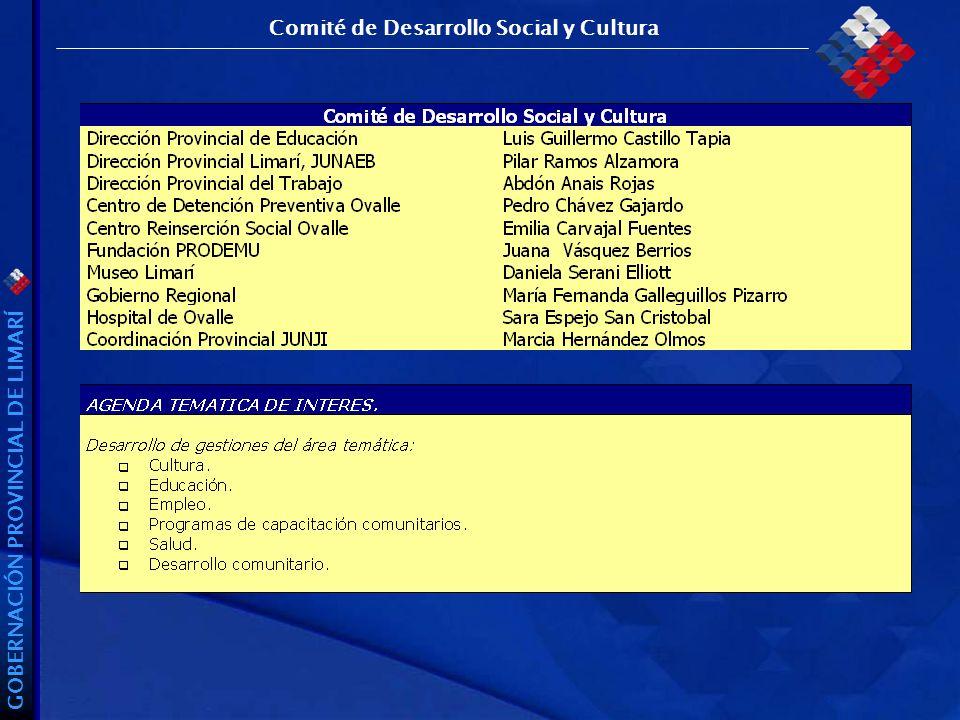 GOBERNACIÓN PROVINCIAL DE LIMARÍ Comité de Desarrollo Social y Cultura