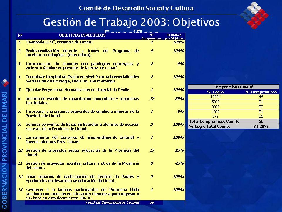 GOBERNACIÓN PROVINCIAL DE LIMARÍ Gestión de Trabajo 2003: Objetivos Específicos Comité de Desarrollo Social y Cultura