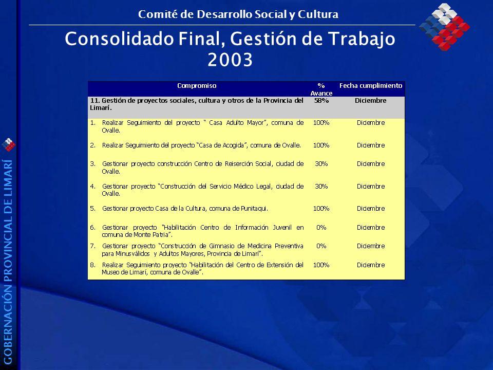 GOBERNACIÓN PROVINCIAL DE LIMARÍ Consolidado Final, Gestión de Trabajo 2003 Comité de Desarrollo Social y Cultura