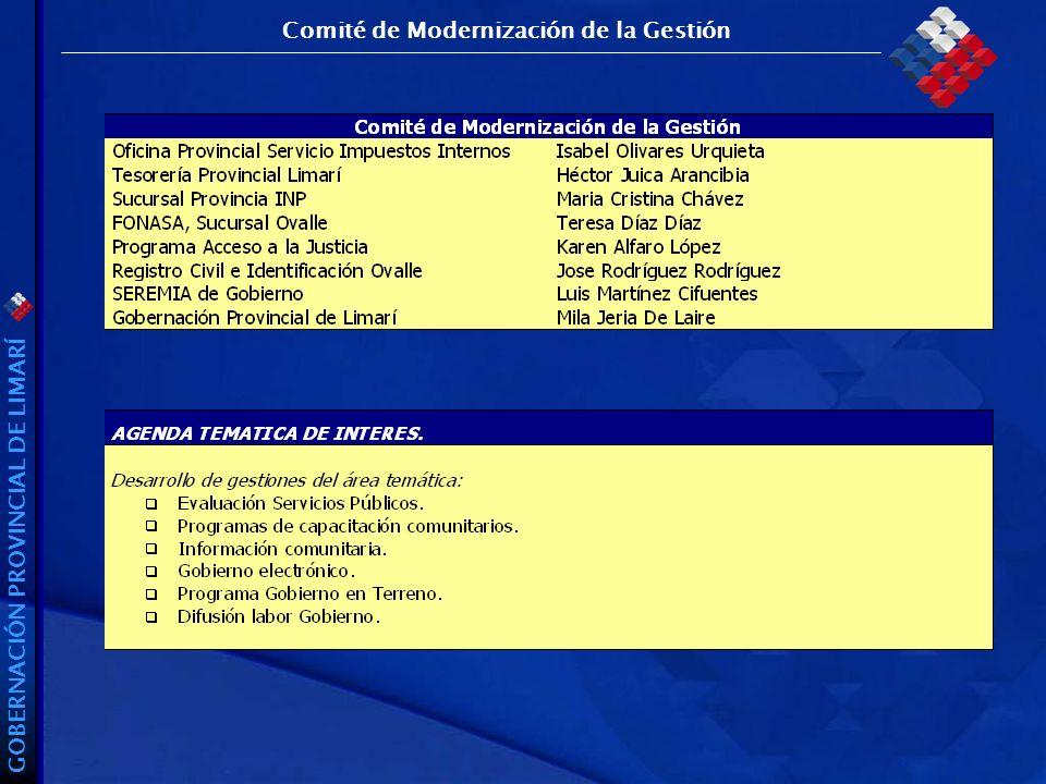 GOBERNACIÓN PROVINCIAL DE LIMARÍ Comité de Modernización de la Gestión