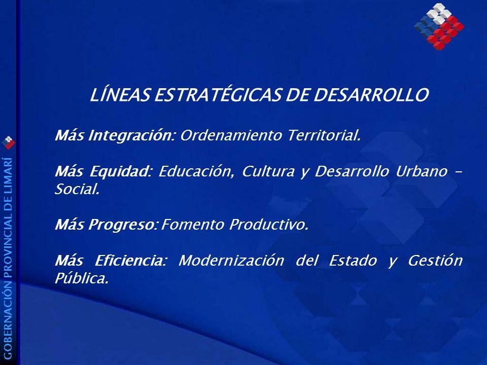GOBERNACIÓN PROVINCIAL DE LIMARÍ LÍNEAS ESTRATÉGICAS DE DESARROLLO Más Integración: Ordenamiento Territorial.