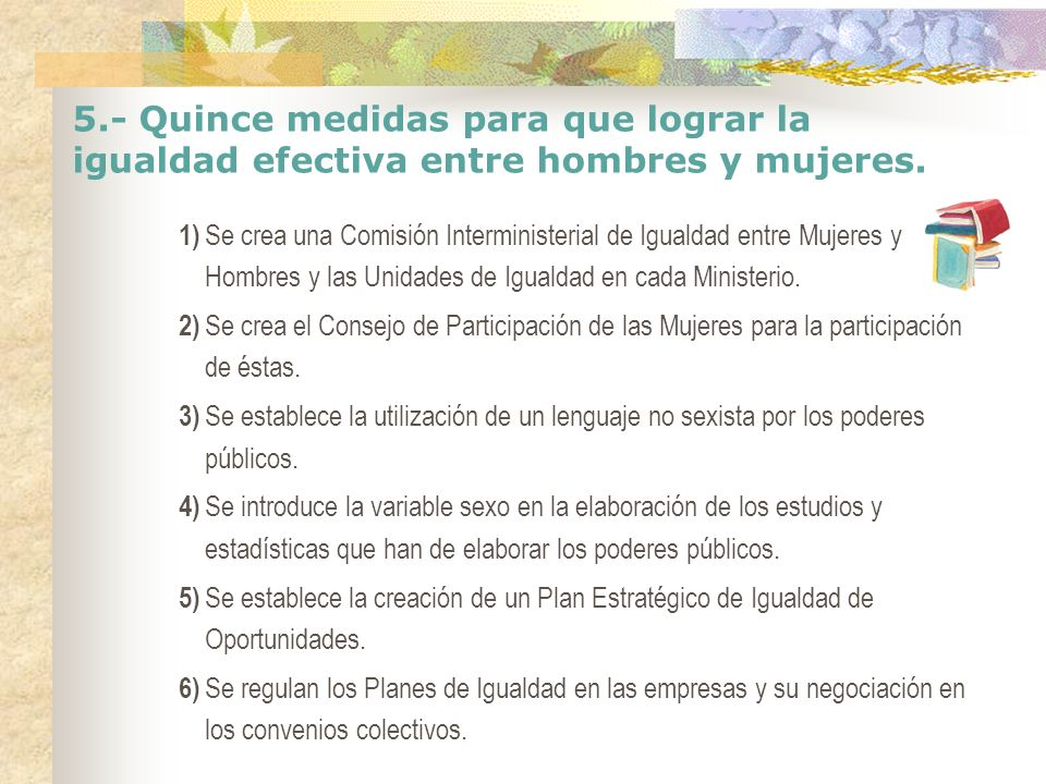 5.- Quince medidas para que lograr la igualdad efectiva entre hombres y mujeres. 1) Se crea una Comisión Interministerial de Igualdad entre Mujeres y