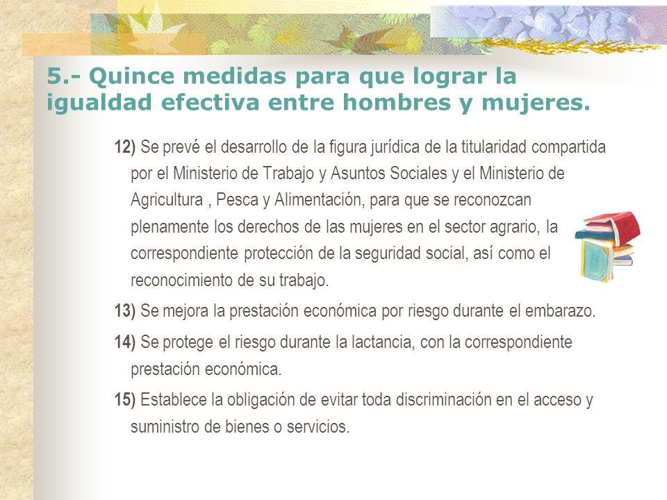 5.- Quince medidas para que lograr la igualdad efectiva entre hombres y mujeres. 12) Se prevé el desarrollo de la figura jurídica de la titularidad co
