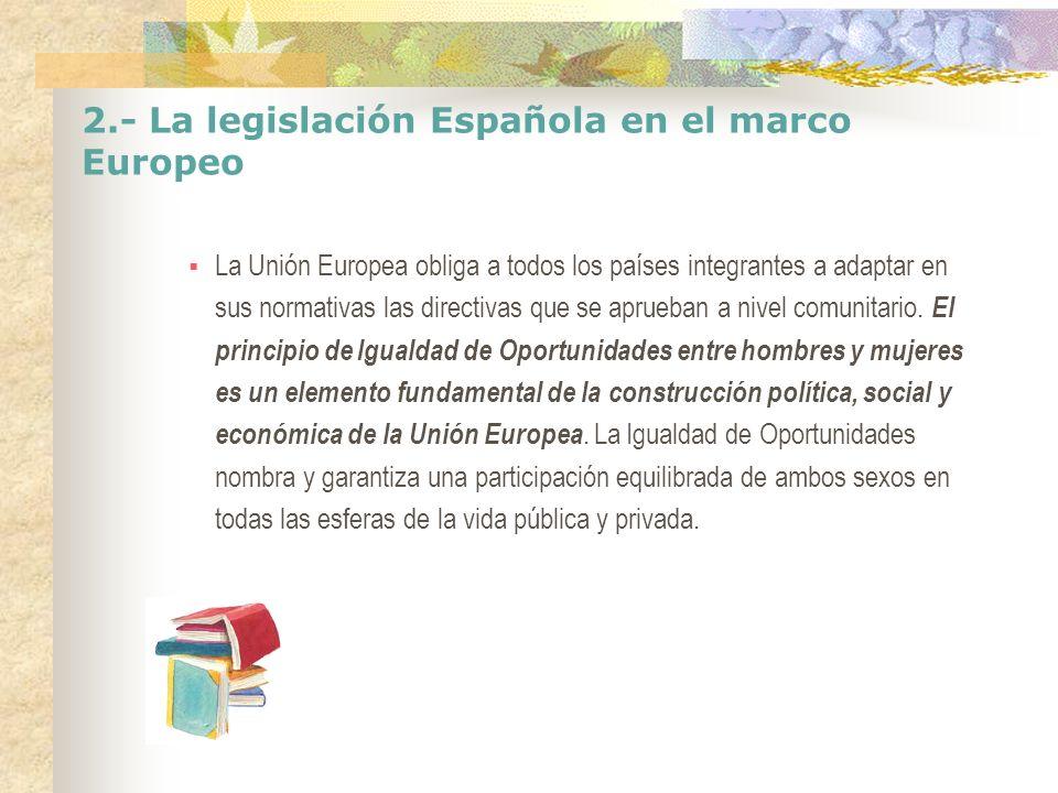 2.- La legislación Española en el marco Europeo En el año 2006 se creo el Instituto Europeo de la Igualdad de Género que tiene objetivo ayudar a las Instituciones Europeas y a los Estados Miembros a fomentar la igualdad de género en todas las políticas comunitarias, en las políticas nacionales de los Estados miembro y luchar contra la discriminación por razón de sexo.