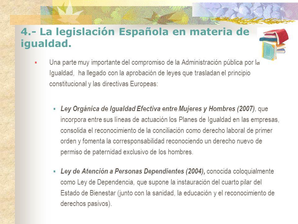 4.- La legislación Española en materia de igualdad. Una parte muy importante del compromiso de la Administración pública por la Igualdad, ha llegado c