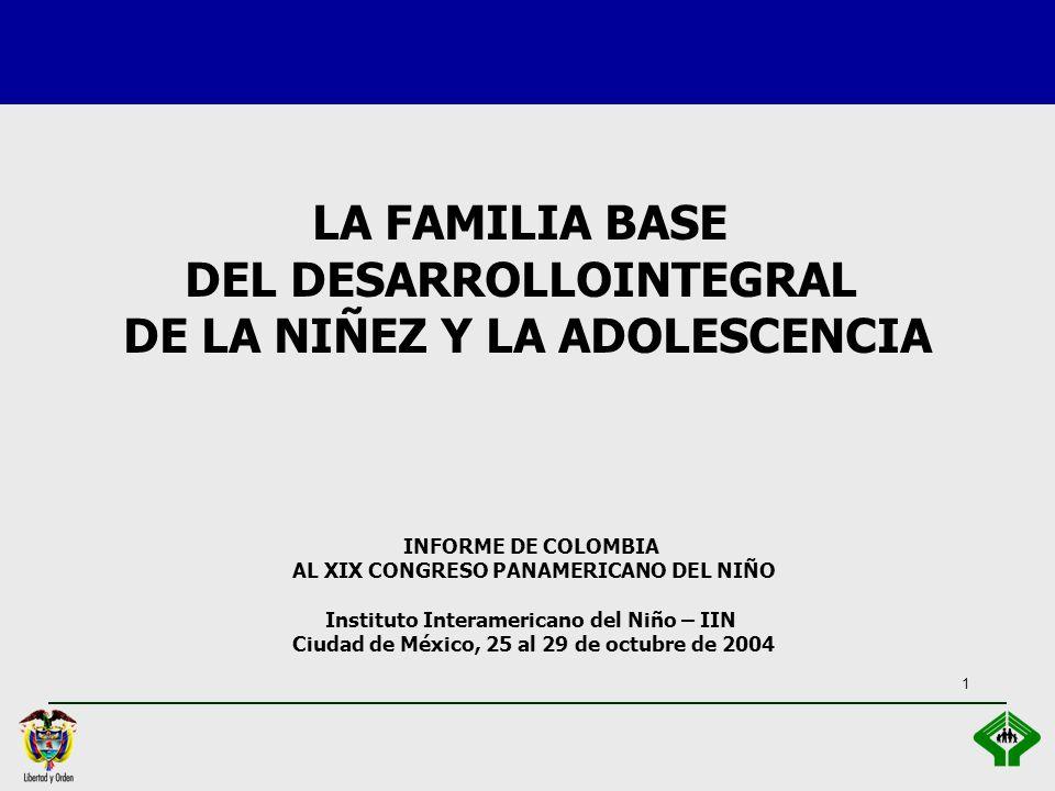 1 INFORME DE COLOMBIA AL XIX CONGRESO PANAMERICANO DEL NIÑO Instituto Interamericano del Niño – IIN Ciudad de México, 25 al 29 de octubre de 2004 LA FAMILIA BASE DEL DESARROLLOINTEGRAL DE LA NIÑEZ Y LA ADOLESCENCIA