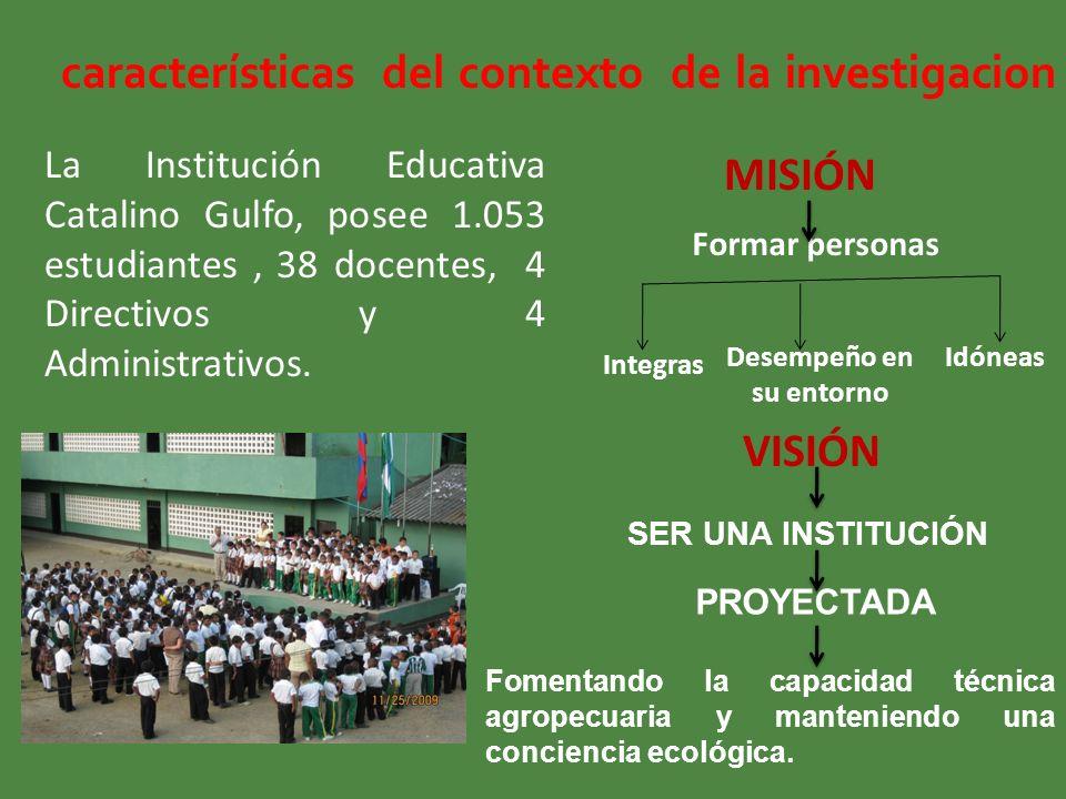 características del contexto de la investigacion La Institución Educativa Catalino Gulfo, posee 1.053 estudiantes, 38 docentes, 4 Directivos y 4 Admin