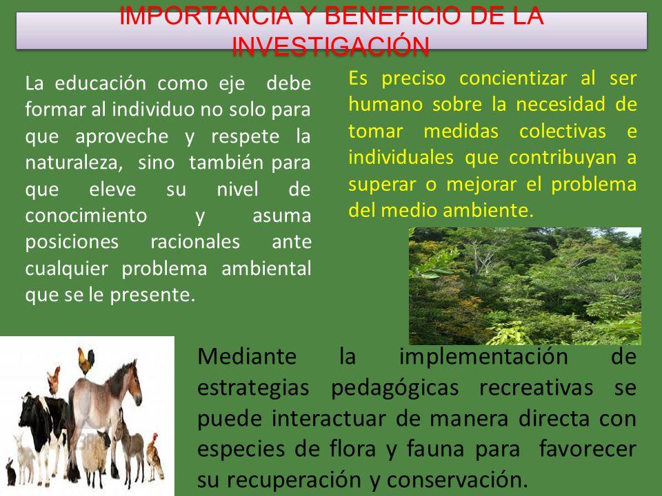 IMPORTANCIA Y BENEFICIO DE LA INVESTIGACIÓN Permite la reflexión en el proceder de cada individuo sobre su comportamiento con las especies de flora y fauna.