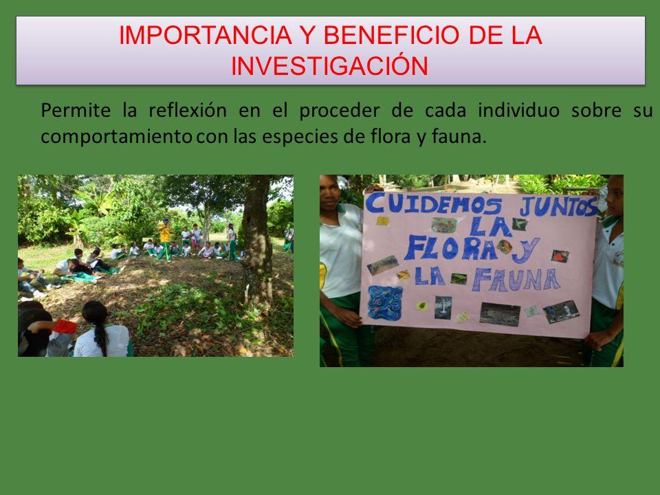 IMPORTANCIA Y BENEFICIO DE LA INVESTIGACIÓN Permite la reflexión en el proceder de cada individuo sobre su comportamiento con las especies de flora y