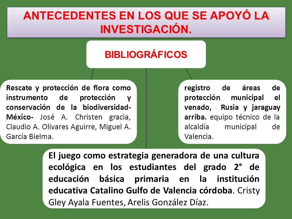 ANTECEDENTES EN LOS QUE SE APOYÓ LA INVESTIGACIÓN. BIBLIOGRÁFICOS El juego como estrategia generadora de una cultura ecológica en los estudiantes del