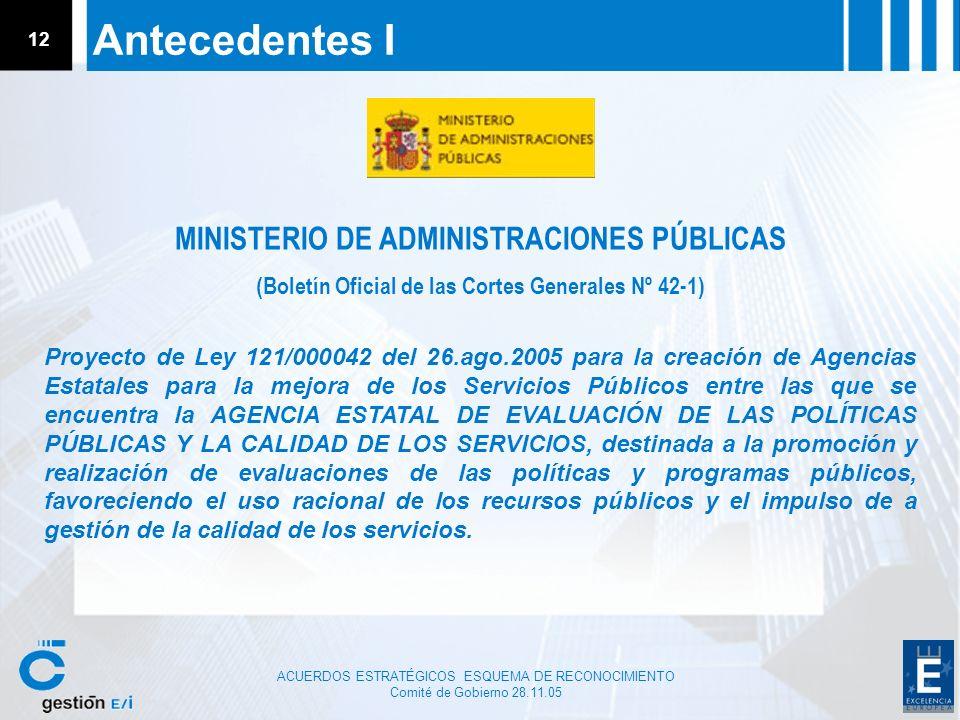 ACUERDOS ESTRATÉGICOS ESQUEMA DE RECONOCIMIENTO Comité de Gobierno 28.11.05 12 Antecedentes I Proyecto de Ley 121/000042 del 26.ago.2005 para la creac