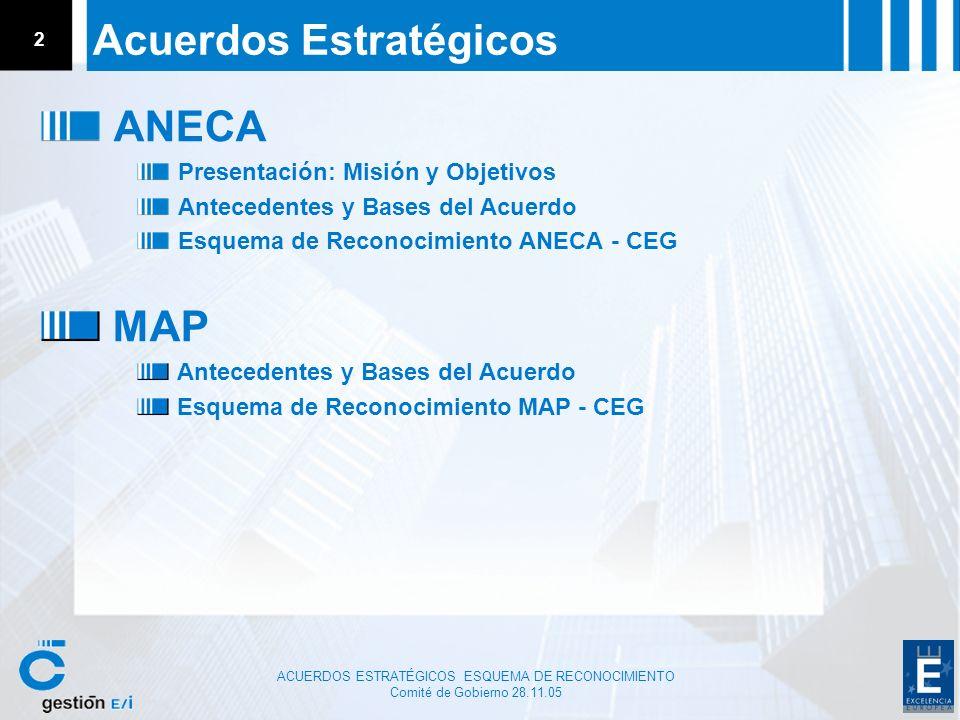 Comité de Gobierno 28.11.05 2 Acuerdos Estratégicos ANECA Presentación: Misión y Objetivos Antecedentes y Bases del Acuerdo Esquema de Reconocimiento