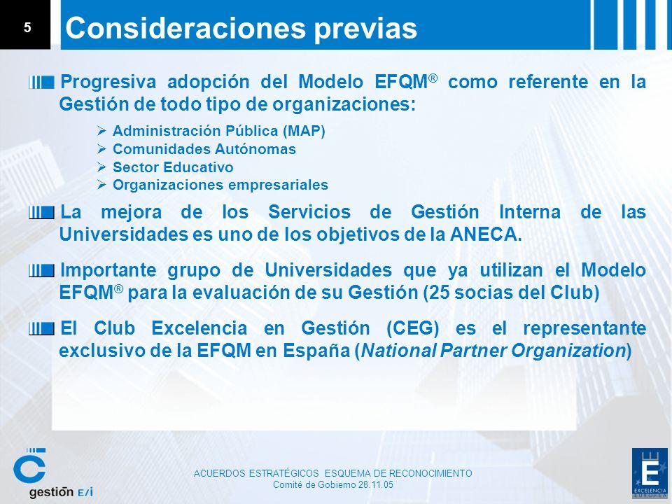 ACUERDOS ESTRATÉGICOS ESQUEMA DE RECONOCIMIENTO Comité de Gobierno 28.11.05 5 Consideraciones previas Progresiva adopción del Modelo EFQM ® como refer